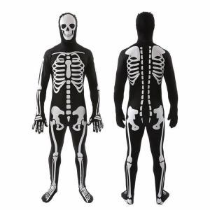 ハロウィン コスプレ衣装 コスチューム 骸骨 ガイコツ スケルトン 男性 メンズ オールインワン 全身スーツ 全身タイツ つなぎ 上下一体型 骨 長袖|mignonlindo