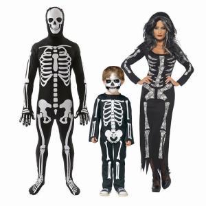 ハロウィン コスプレ衣装 コスチューム 骸骨 ガイコツ スケルトン 女性 レディース 子供 キッズ ワンピース オールインワン つなぎ 上下一体型 骨|mignonlindo