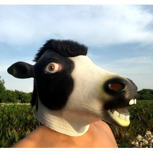 被り物 かぶりもの フルヘッドマスク 仮面 ハロウィン コスプレ お面 コスチューム 乳牛 牛 ウシ 動物 アニマル 仮装 変装 イベント パーティー|mignonlindo