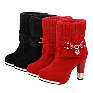 ニットブーツ ショートブーツ レディース ブーツ 靴 シューズ ハイヒール チャンキーヒール メタルトゥ アーモンドトゥ スエード調 ニット 異素材|mignonlindo