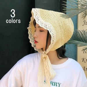 帽子 ハット 麦わら帽子 レディース ファッション レース リボン あごひも付き 日よけ 紫外線防止 折りたたみ可能 かわいい ガーリー おしゃれ|mignonlindo