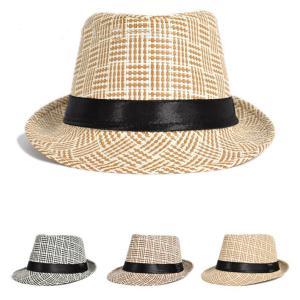 パナマ帽 中折れハット 麦わら帽子 ストローハット 中折れ帽...