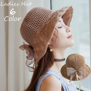 帽子 ハット サンハット メッシュ レディース 麦わら帽子風 大きめリボン付き ファッション小物 紫外線対策 日除け 熱中症対策 UV対策 夏 外出|mignonlindo