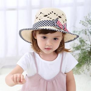 麦わら帽子 帽子 ハット 子供用 女の子 キッズ ガールズ ファッション小物 ファッションアイテム チェック リボン 49cm 51cm 53cm お|mignonlindo