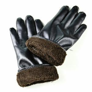 手袋 5本指 5本指手袋 スマホ対応 スマートフォン対応 フェイクレザー ブラック メンズ レディース 裏起毛 裏ボア てぶくろ グローブ 防寒 防寒|mignonlindo