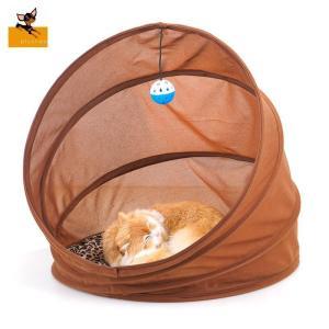 猫用 ベッド トンネル型ベッド ドームベッド ドーム型ベッド クッション付き ヒョウ柄クッション ボール付き 折り畳み式 豹柄 折畳み 折畳 おもちゃ...