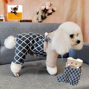 クマの帽子が付いた可愛いカバーオールです。 愛犬の寒さ対策になる裏起毛タイプです♪♪  【サイズにつ...