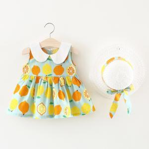 ワンピース ノースリーブ ピーターパンカラー 麦わら帽子付き 子供用 キッズ フレアスカート 背中ボタン レモン柄 檸檬 可愛い かわいい 女の子 女|mignonlindo
