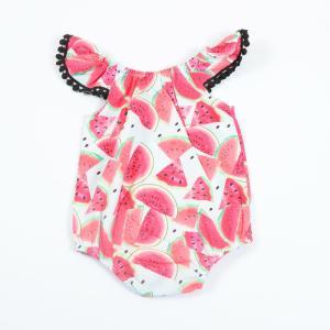 スイカの柄が可愛いベビー用ロンパースです。 袖にレースが付いている女の子らしいデザインになっています...