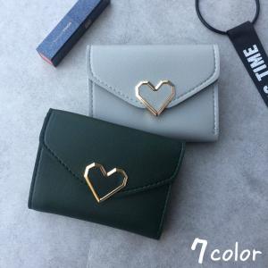 財布 レディース 三つ折り コンパクト 女の子 おしゃれ 可愛い かわいい カード入れ 高校生 中学生 プレゼント ハート|mignonlindo