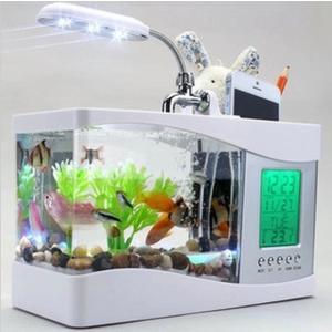 水槽 ミニ水槽 卓上 時計 スタンド カレンダー 水族館 USB LED ライト 金魚鉢 アラーム ペンホルダー 温度計 多機能 省電力 ギフト
