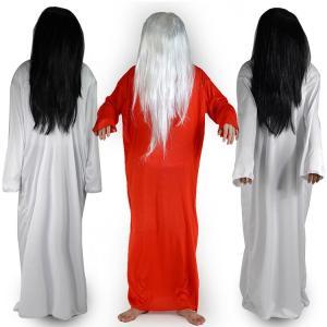 フルウィッグ ウイッグ 70cm かつら 貞子 さだこ 鬼女 黒髪 白髪 ロングヘア コスプレ衣装 コスチューム 幽霊の女 怨霊の女 ゆうれい おばけ|mignonlindo