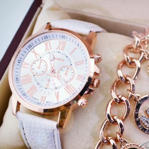 腕時計 うで時計 時計 可愛い かわいい おしゃれ オシャレ お洒落 ベルト 革ベルト 針 アナログ 文字盤 ピンクゴールド キラキラ きらきら 女性|mignonlindo