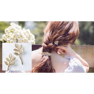 ヘアピン ヘアアクセサリー 髪留め 髪飾り まとめ髪 ヘアアレンジ リーフ 葉っぱ ゴールドカラー GOLD シンプル ナチュラルガーリー 可愛い カ