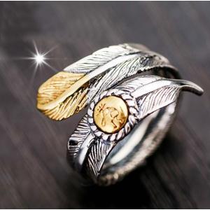 指輪 リング メンズ レディース 男性 女性 デザインリング オープンリング フェザーリング シルバー ゴールド レトロ インディアン 羽毛 おしゃれ|mignonlindo