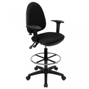 Thornton's Office Supply Mid-Back Black Fabric Multi-Functional Drafting Chair with Adjustable Lumbar Support and Height Adjustable Arms