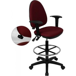 Thornton's Office Supply Mid-Back Burgundy Fabric Multi-Functional Drafting Chair with Adjustable Lumbar Support and Height Adjustable Arms