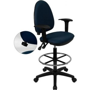Thornton's Office Supply Mid-Back Navy Blue Fabric Multi-Functional Drafting Chair with Adjustable Lumbar Support and Height Adjustable Arms
