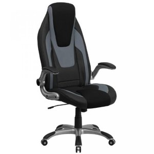 Thornton's Office Supply High Back Black& Gray Vinyl Executive Swivel Office Chair with Black Mesh Insets and Flip-Up Arms