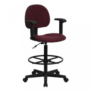 Thornton's Office Supply Burgundy Fabric Ergonomic Drafting Chair with Height Adjustable Arms (Adjustable Range 22.5''-27''H or 26''-30.5''H)