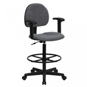Thornton's Office Supply Gray Fabric Ergonomic Drafting Chair with Height Adjustable Arms (Adjustable Range 22.5''-27''H or 26''-30.5''H)