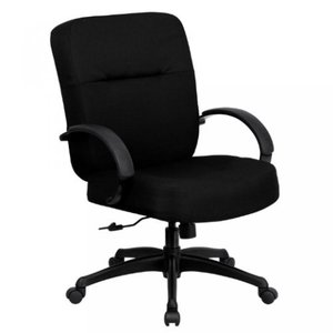 Thornton's Office Supply Series 400 lb. Capacity Big& Tall Black Fabric Executive Swivel Office Chair with Extra WIDE Seat and Height Adjustable