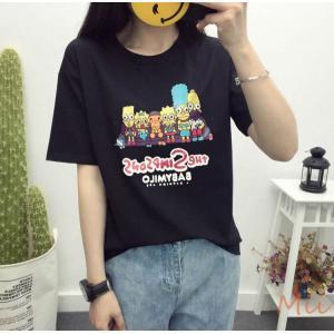 Tシャツ レディース トップス コットン キャラクター 英字 綿 ラウンド襟 半袖|miistore