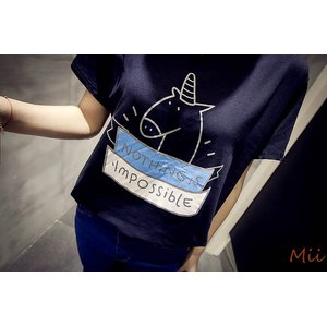 Tシャツ レディース トップス ラウンド襟 綿 動物プリント 英字 半袖 麒麟 コットン キリン|miistore
