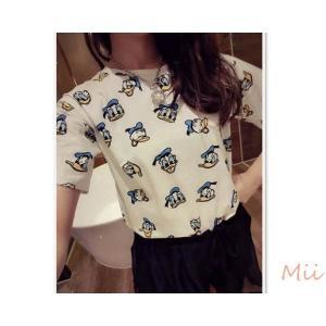 Tシャツ 半袖Tシャツ アヒル トップス ホワイト レディース|miistore
