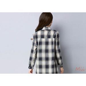 ロングシャツ チェック柄シャツ シャツワンピース ロングカーディガン チェック柄ワンピース M-2XL|miistore