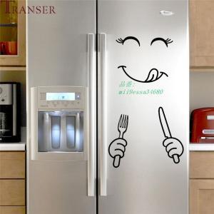 1PC リムーバブル冷蔵庫 ステッカー ハッピーおいしい顔 キッ チン 壁冷蔵庫 ビニール ステッカー アート ウォールステッカー ホーム デコレーション 9828|miistore