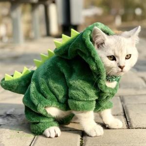 ペット 猫服おかしい恐竜衣装コート冬暖かいフリース猫 服小猫子猫パーカー子犬犬服 グループ上 ホーム ガーデン から 猫 服 中 miistore