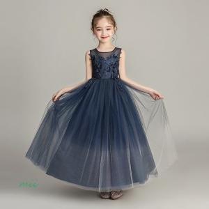 フォーマル 発表会 子供ドレス 女の子 ジュニア 紺色 女児 ロング丈ドレス 結婚式 パーティードレス ドレス ネイビー 子供服 キッズドレス|miistore