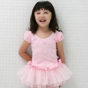 【現品限りSALE】キッズレオタード【ポップリボン】(半袖)ピンク|mijong