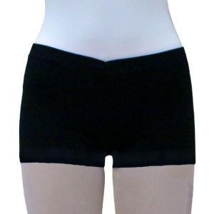 Vラインショートパンツ【綿スパン】ブラック|mijong