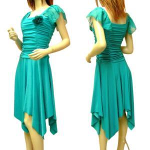Mサイズ〜 Lサイズ  パーティードレス ワンピース 結婚式 ダンス衣装 ドレープ フレンチ袖 ひらひら ドレス ミカドレス D53-2 d53-2|mika