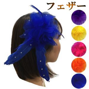羽にラインストーンがついてるヘッドドレス 安全ピンとヘアクリップがついておりますので髪飾りにも衣装に...