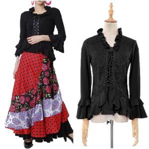フラメンコ衣装 トップス 社交ダンス 胸元薔薇レース使用 編み上げタイプ練習着 レッスンウェア セール 用品 レディース ミカドレス t42-1