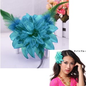 スペイン製 フラメンコ 大輪バラコサージュ 水玉 葉っぱ付き フラメンコ衣装にぴったり 髪飾り ヘアアクセサリーミカドレス sky2-a|mika