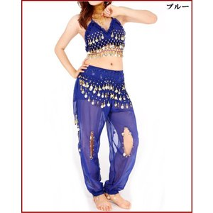 (只今70%オフ)3点 セット青 ブルー ベリーダンス 衣装 ブラトップ&アラジンパンツ&ヒップスカーフ ステージ衣装 ミカドレス gy12-1|mika