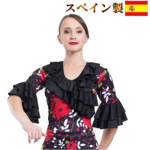 (スペイン製 M-XLサイズ)フラメンコ衣装 七分丈トップス 大きいサイズ ダンス衣装 大輪花柄 赤 レッド ミカドレス sty8|mika
