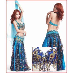 (在庫限り)2点セット ベリーダンス 衣装 ブラベルトセット ブルー 青  セール サンバ 衣装  ミカドレス cy171|mika