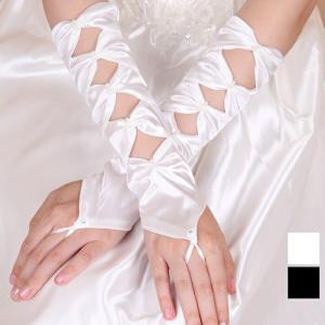 パーティードレス グローブ ロングドレス 披露宴 結婚式 指さしリボンシャーリングミディアムグローブ ダンス衣装 ミカドレス 2036-8 mika
