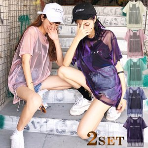 キャミソールとシースルーTシャツのセットアップ 生地は柔らかく、速乾性、伸縮性、通気性が備わり、動き...