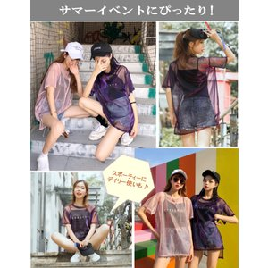 Tシャツ ダンス衣装 キャミソールとシースルーTシャツのセットアップ  重ね着 ミカドレス cy8n-2|mika|05