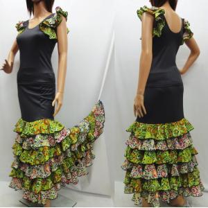 フラメンコ衣装 スペイン製 トップスとスカートセット ツーピース 水玉 花柄 ワンピース ダンス衣装 ブラック×レッド花柄 ミカドレス sfy5-sty5-no2|mika