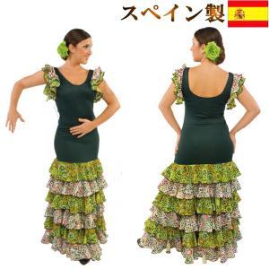 フラメンコ衣装 スペイン製 トップスとスカートセット ツーピース 水玉 花柄 ワンピース ダンス衣装 モスグリーン×グリーン水玉  ミカドレス sfy5-sty5-no1|mika