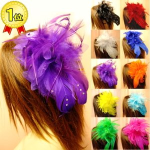 パーティードレス ヘッドドレス コサージュ 髪飾り 羽フェザー ヘアーアクセサリー ダンス衣装 ミカドレス 6785-1|mika
