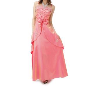 大きいサイズ ドレス パーティードレス ピンク aライン ロングドレス コーラス 9-17号 オリジナル ミカドレス ステージ衣装 キュートな姫ドレス  dcy9-pink mika