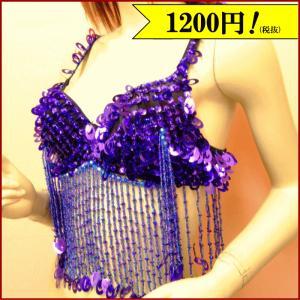 (60%OFFセール 在庫限り)ベリーダンス衣装 ブラトップ パープル 紫 フリンジ 豪華なスパンとビーズの装飾が映える ミカドレス b18-2|mika